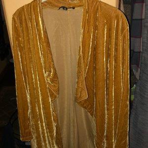 NWOT velvety cardigan gold color Medium